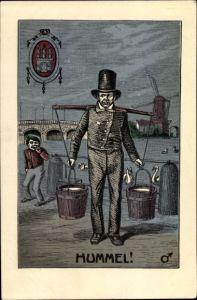 Künstler Wappen Ak Hamburg, Hummel, Wasserträger, Windmühle im Hintergrund