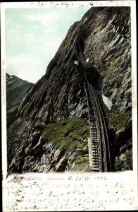 Ak Schweiz, Pilatusbahn, Eselwand, Zahnradbahn, Berg, Tunnel