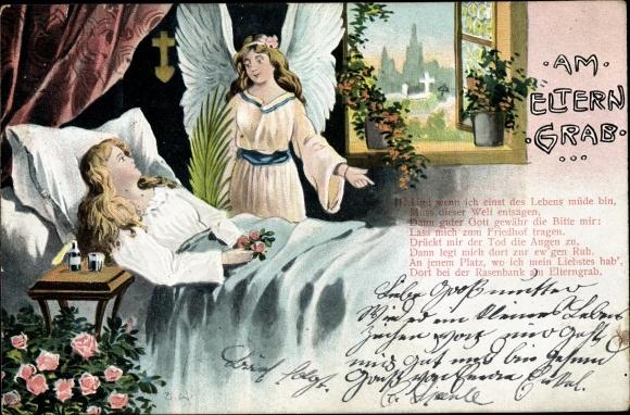Ak Am Eltern Grab, sterbende Frau, Engel am Sterbebett, Gedicht