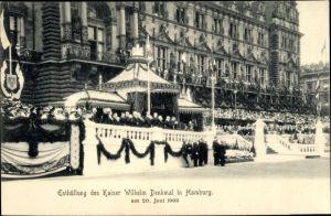 Ak Hamburg Mitte Altstadt, Enthüllung des Kaiser Wilhelm Denkmal 1903, Tribüne, Zuschauer