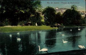 Ak Rio de Janeiro Brasilien, Parque da Acclamacao, Parkanlagen, Teich mit Schwänen