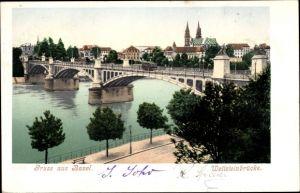 Ak Bâle Basel Stadt Schweiz, Wettsteinbrücke mit Straßenbahn, Teilansicht der Stadt, Münster