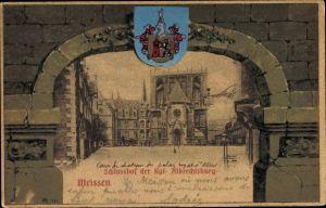 Passepartout Ak Meißen in Sachsen, Wappen, Schlosshof der Kgl. Albrechtsburg