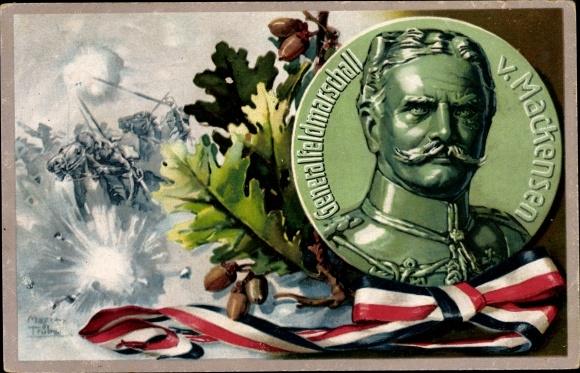 Künstler Ak Trübe, Maxim, Generalfeldmarschall August von Mackensen, Schlachtszene