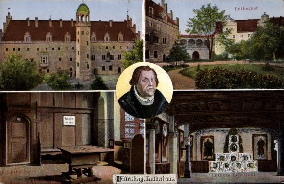 Ak Lutherstadt Wittenberg in Sachsen Anhalt, Lutherhaus, Lutherstube, Lutherhof, Portrait, Lehrstuhl