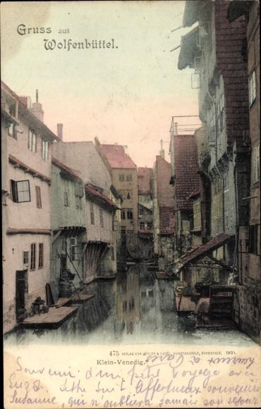 Ak Wolfenbüttel in Niedersachsen, Wasserpartie in Klein Venedig