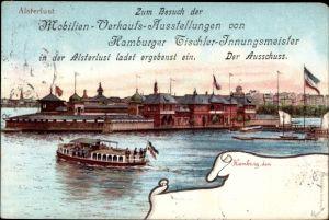 Künstler Ak Hamburg St. Georg, Mobilien Verkaufsausstellung von Tischler Innungsmeister, Alsterlust