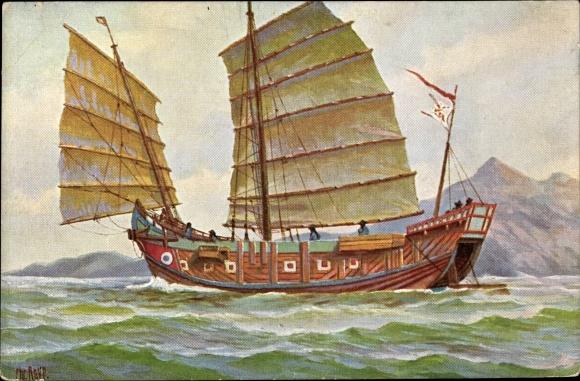 Künstler Ak Rave, Chr., Marine Galerie  Nr. 105, Großes chinesisches Salztransportboot