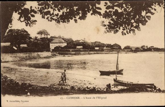 Ak Cayenne Französisch Guayana, l'Anse de l'Hopital, Uferpromenade