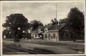Ak Billesholm Schweden, Järnvägsstationen, Billesholms Gruva, Bahnhof, Gleisseite