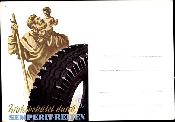 Künstler Ak Wohlbehütet durch Semperit Reifen, Reklame