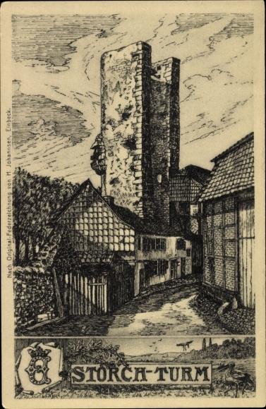 Künstler Ak Johannsen, H., Einbeck in Niedersachsen, Ansicht vom Storchturm