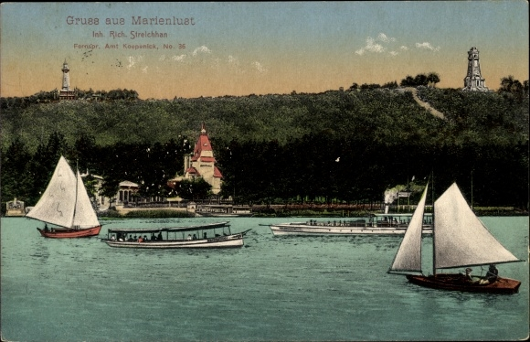 Ak Berlin Köpenick, Wirtschaft Marienlust, Inh. R. Streichhan, Blick vom See, Segelboote
