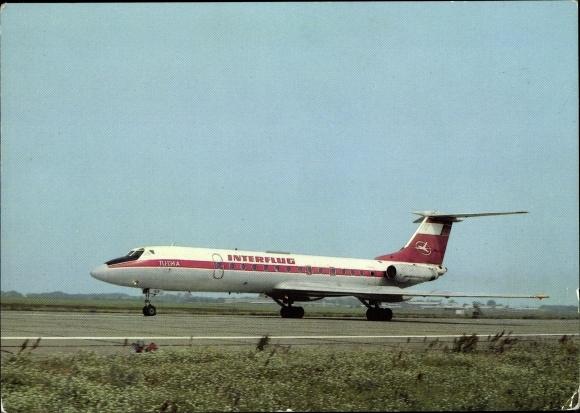 Ak Deutsches Passagierflugzeug der Interflug, TU 134 A beim Start