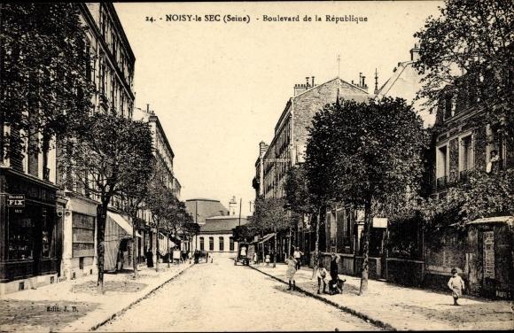 Ak Noisy le Sec Seine Saint Denis, Boulevard de la Republique, Geschäfte, Anwohner