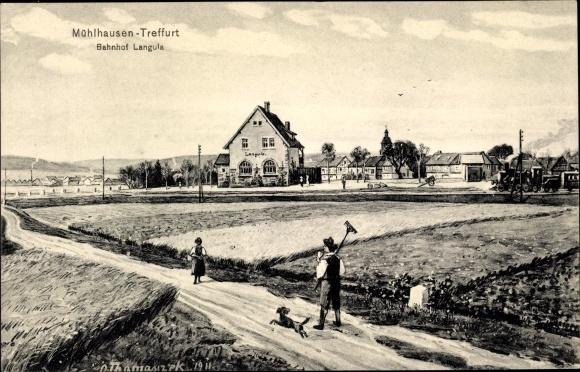 Künstler Ak Thomasczek, Otto, Langula Vogtei im Unstrut Hainich Kreis, Bahnhof, Landarbeiter, Felder