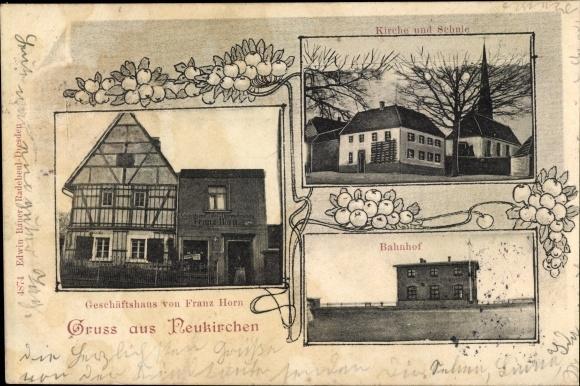 Ak Neukirchen Reinsberg in Mittelsachsen, Geschäftshaus von Franz Horn, Kirche, Bahnhof, Schule