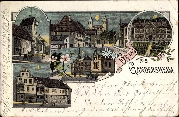 Litho Bad Gandersheim in Niedersachsen, Ort, Stift Kirche, Rathaus, Abtei, Augusta Stift