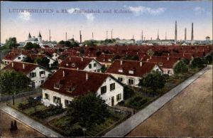 Ak Ludwigshafen am Rhein Rheinland Pfalz, Blick auf die Anilinfabrik, Kolonie
