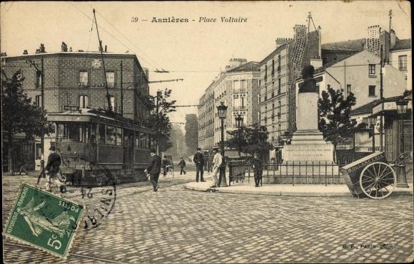 Ak Asnières sur Seine Hauts de Seine, Place Voltaire, Denkmal, Straßenbahn