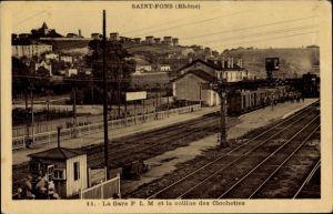 Ak Saint Fons Rhone, La Gare PLM et la colline des Clochetiers, Der Bahnhof von der Gleisseite