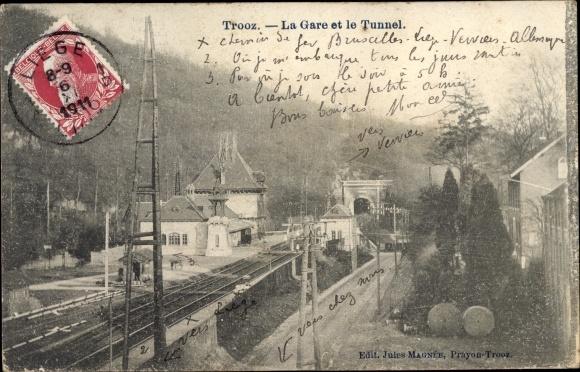 Ak Trooz Wallonien Lüttich, La Gare et le Tunnel, Bahnhof, Gleisseite