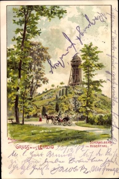 Künstler Litho Spindler, Erwin, Leipzig in Sachsen, Ansicht vom Scherbelberg im Rosental