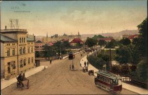 Ak Gera in Thüringen, Heinrichsbrücke, Straßenansicht, Straßenbahn