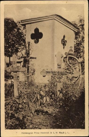 Ak Gera in Thüringen, Heldengrab Prinz Heinrich XLII Reuss j. L., Leutn, im Jägerbat. 11 0