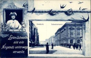 Passepartout Ak Hamburg Mitte St. Pauli, Partie auf dem Schweinemarkt, Schwalben, Frau am Fenster