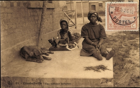 Ak Lubumbashi Elisabethville DR Kongo Zaire, Une tailleuse indigène, Schneiderin, Nähmaschine