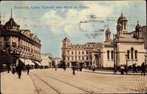 Ak București Bukarest Rumänien, Calea Victoriei spre Hotel de Franta, Straßenansicht