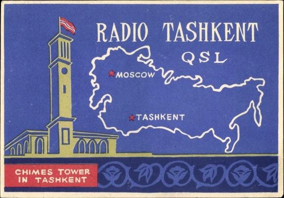 Ak Taschkent Usbekistan, Radio Tashkent, QSL Karte, Chimes Tower