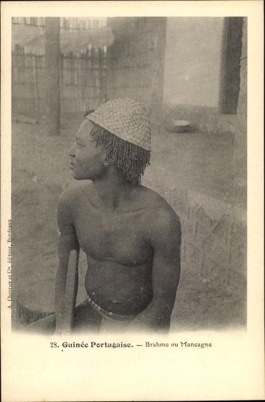Ak Guinea Bissau, Guinea Portugaise, Brahme ou Mancagne