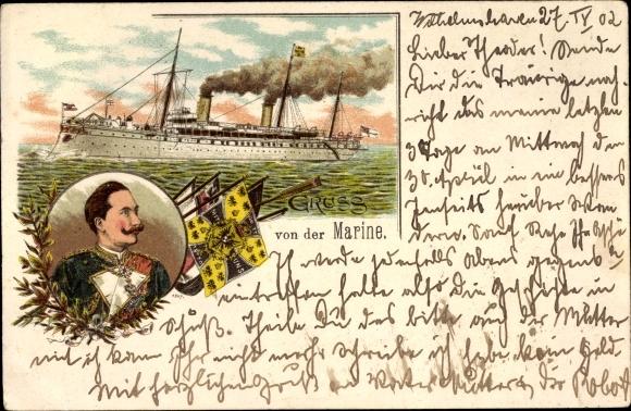 Litho Kaiser Wilhelm II., SMY Hohenzollern, Kaiserliche Marine