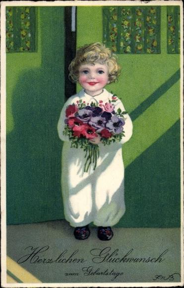 Künstler Ak Baumgarten, Fritz, Glückwunsch Geburtstag, Kind mit Blumenstrauß