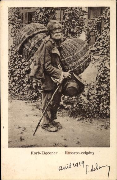 Ak Korb Zigeuner, Kosaros czigany, Rumänischer Korbverkäufer