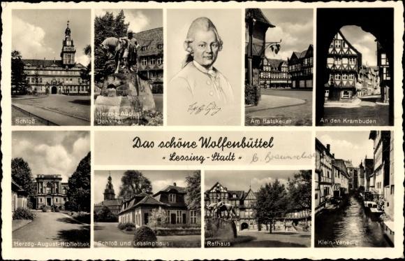 Ak Wolfenbüttel in Niedersachsen, Herzog August Denkmal, Krambuden, Lessing, Rathaus, Stengel