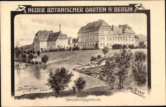 Künstler Ak Jander, Carl, Berlin Steglitz Lichterfelde, Neuer Botanischer Garten, Verwaltungsgebäude