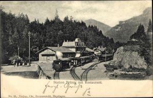 Ak Brünig Halbkanton Obwalden, Station der Brünigbahn, Schmalspurbahn, Restaurant