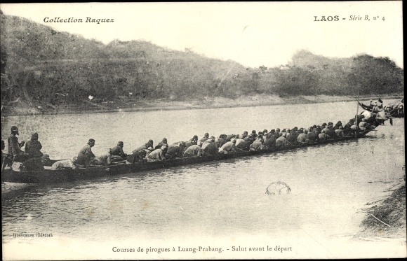 Ak Luang Prabang Laos, Courses de pirogues, Salut avant le depart, Langboot, Kanu 0