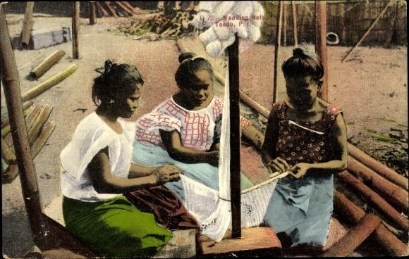Ak Tondo Philippinen, Weaving Nets, Philippinische Frauen weben Netze