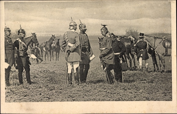 Ak Kaiser Wilhelm II. besucht die Truppen im Felde, Deutsche Soldaten in Uniformen