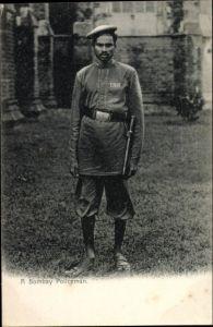 Ak Mumbai Bombay Indien, A Policeman, Indischer Polizeibeamter in Uniform, Nr. 188