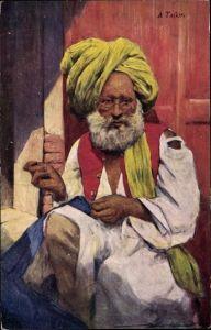 Ak Indien, A Tailor, Indischer Schneider bei der Arbeit, Turban