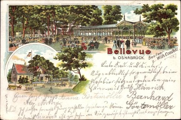 Litho Osnabrück in Niedersachsen, Bellevue, Bes. Wilh. Coesfeld