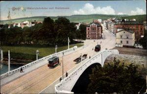 Ak Gera in Thüringen, Blick auf Heinrichsbrücke und Waldstraße