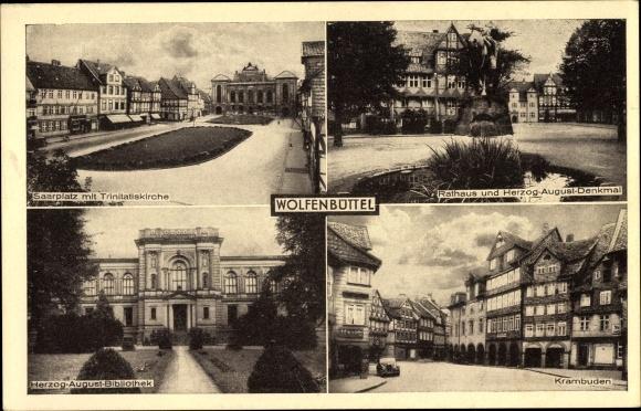 Ak Wolfenbüttel in Niedersachsen, Rathaus, Krambuden, Trinitatiskirche, Herzog August Denkmal