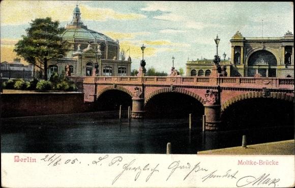 Ak Berlin Mitte, Die Moltkebrücke, Lehrter Bahnhof, Panorama, Ausstellungsgebäude