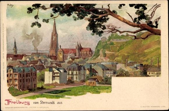 Künstler Litho Kley, Heinrich, Freiburg im Breisgau Baden Württemberg, Stadtpanorama vom Sternwald